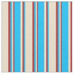 [ Thumbnail: Tan, Deep Sky Blue & Red Pattern of Stripes Fabric ]