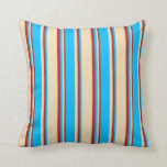 [ Thumbnail: Tan, Deep Sky Blue & Red Pattern of Stripes Pillow ]