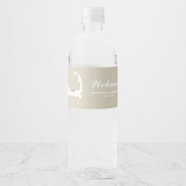 Beach Themed Tan Dennis Cape Cod Map with red heart Wedding Water Bottle Label