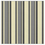 [ Thumbnail: Tan, Dim Gray, and Black Pattern of Stripes Fabric ]