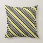 [ Thumbnail: Tan, Dim Gray, and Black Pattern of Stripes Pillow ]