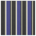 [ Thumbnail: Tan, Dim Gray, Black, Midnight Blue & White Lines Fabric ]