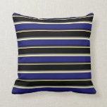 [ Thumbnail: Tan, Dim Gray, Black, Midnight Blue & White Lines Throw Pillow ]