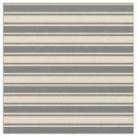 [ Thumbnail: Tan & Dim Gray Colored Stripes Fabric ]