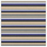 [ Thumbnail: Tan, Dim Gray, Lavender, Midnight Blue & Black Fabric ]