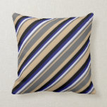 [ Thumbnail: Tan, Dim Gray, Lavender, Midnight Blue & Black Throw Pillow ]