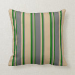 [ Thumbnail: Tan, Dim Grey, and Dark Green Colored Pattern Throw Pillow ]