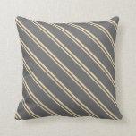 [ Thumbnail: Tan & Dim Grey Colored Striped Pattern Pillow ]