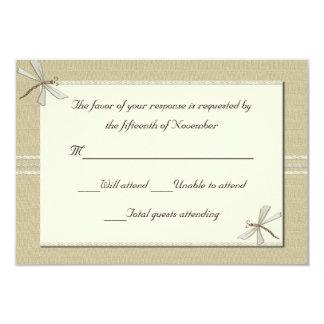 Tan dragonflies Wedding Response Card