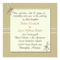 Tan Dragonfly Square Wedding Invitation