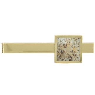 Tan Dried Starfish Gold Finish Tie Bar