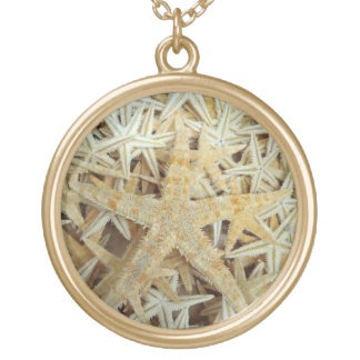 Tan Dried Starfish Gold Plated Necklace