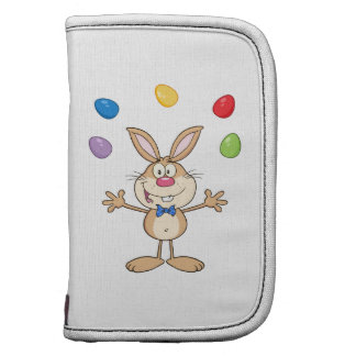 Tan Easter Bunny Juggling Eggs Folio Planners