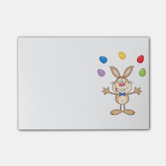 Tan Easter Bunny Juggling Eggs Post-it® Notes
