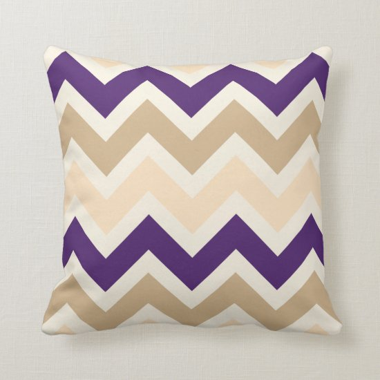 Tan Eggplant Purple and Ivory Chevron Pattern Throw Pillow