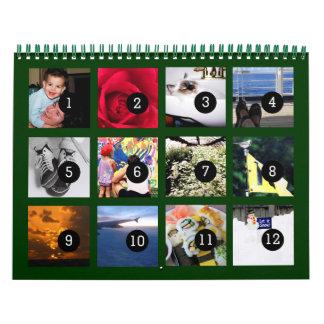 Tan fácil como 1 a 12 su propio calendario verde