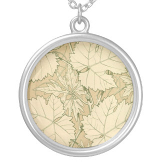 Tan Falling Leaves in Autumn Round Pendant Necklace