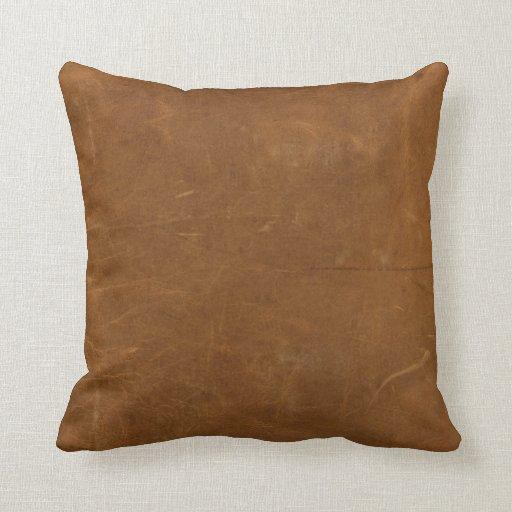 Tan Faux Leather Throw Pillow Zazzle