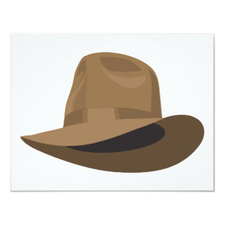 Tan Fedora narrow ribbon Card