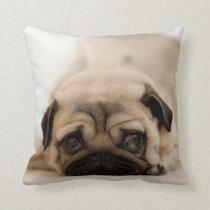 Tan Female Pug Throw Pillow