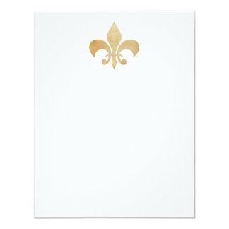 Tan Fleur de Lis Flat Note Cards