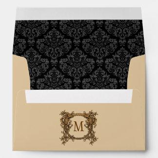 Tan Floral Crest Damask Monogrammed Envelopes
