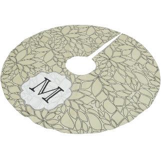 Tan Floral Leaf Tree Monogram Initial Tree Skirt