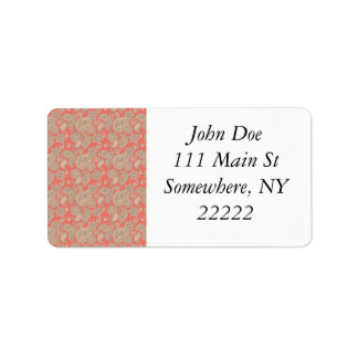 Tan Floral Paisley on Peach Address Label
