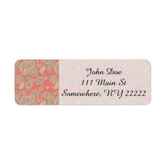 Tan Floral Paisley on Peach Return Address Label