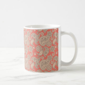 Tan Floral Paisley on Peach Coffee Mug