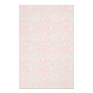 Tan Floral Paisley on Peach Stationery