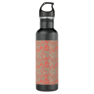 Tan Floral Paisley on Peach Water Bottle