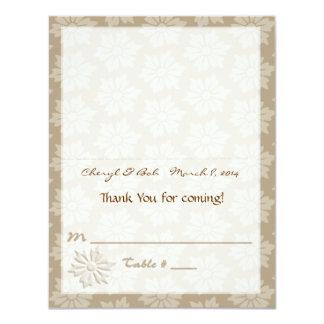 tan Floral Placecard Card