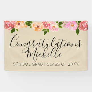 Tan floral rustic grad party banner
