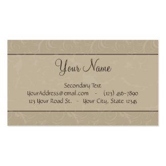 Tan Floral Wisps & Stripes with Monogram Business Card