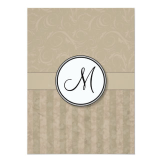 Tan Floral Wisps & Stripes with Monogram Card
