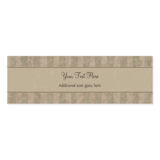 Tan Floral Wisps & Stripes with Monogram Mini Business Card