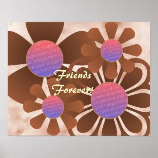 Tan Flowers Photo Frame Print