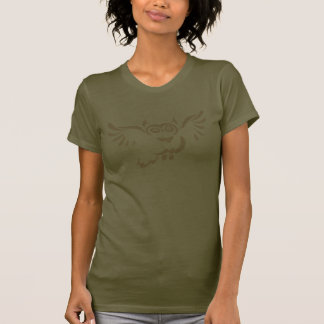 Tan Flying Owl Sketch on Army Color Lady T-shirt