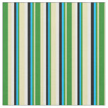 [ Thumbnail: Tan, Forest Green, Deep Sky Blue, Black, and White Fabric ]