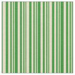 [ Thumbnail: Tan & Forest Green Stripes Fabric ]