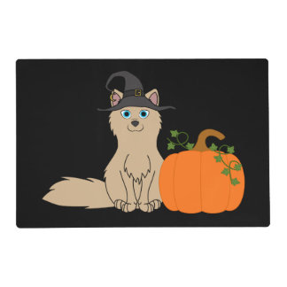 Tan Fox with Halloween Pumpkin Laminated Place Mat