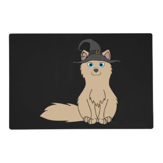 Tan Fox with Halloween Witch Hat Laminated Placemat