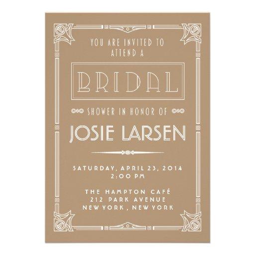... | Gatsby Art Deco Bridal Shower Invitations Personalized Invitation