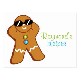 """Tan Gingerbread Man"" Personalized Recipe Card"