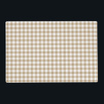 """Tan Gingham Checked Pattern Placemat<br><div class=""""desc"""">This placemat features tan and white squares in an old fashioned gingham checked pattern. Personalize this reversible placemat with your name or other custom text or enjoy it as is. Click &quot;Customize It&quot; to make the pattern larger or smaller.</div>"""