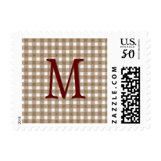 Tan Gingham Pattern and Red Monogram Postage