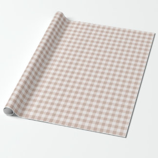 Tan Gingham Plaid Wrapping Paper