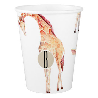 Tan Giraffes Baby Shower Monogram Letter Initial Paper Cup