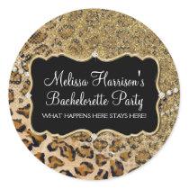 Tan Gold Leopard Animal Print Glitter Look Classic Round Sticker